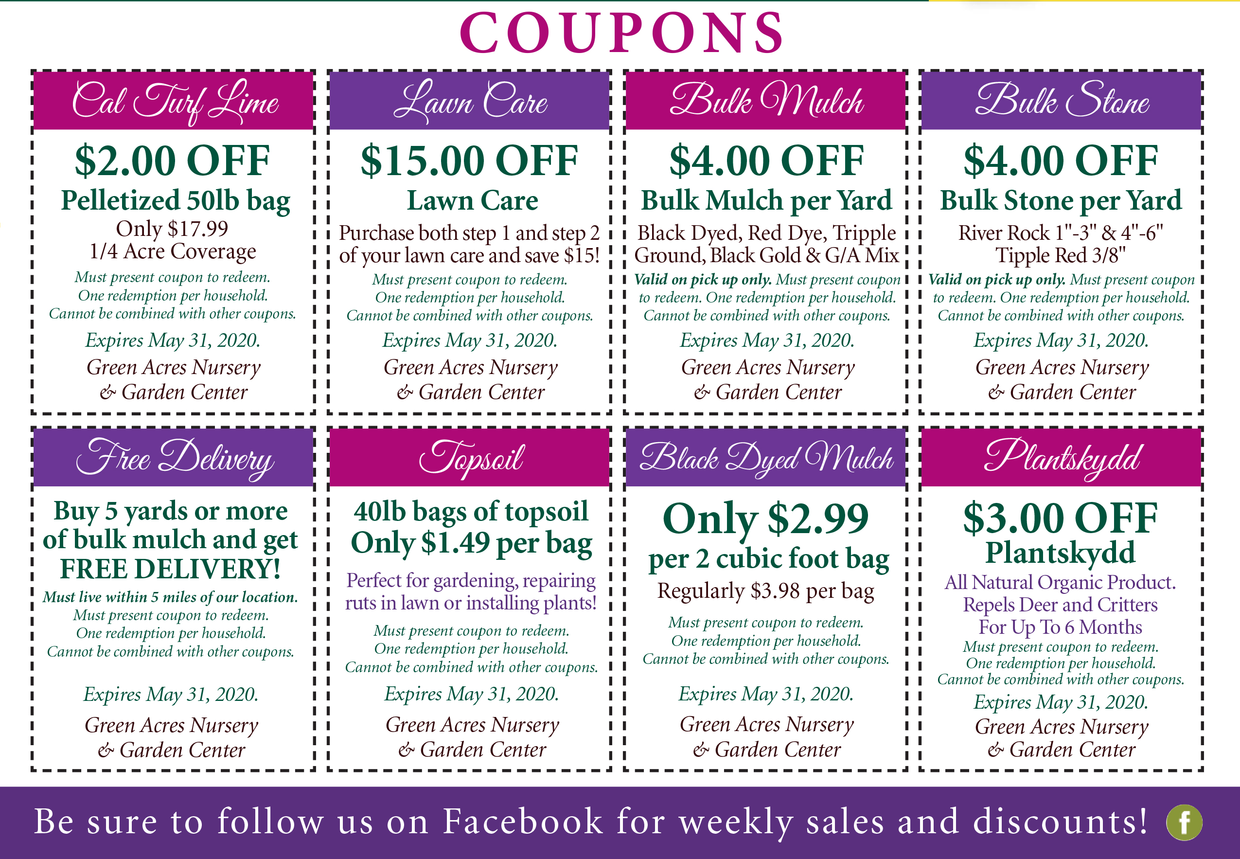 Newsletter Coupons Green Acres